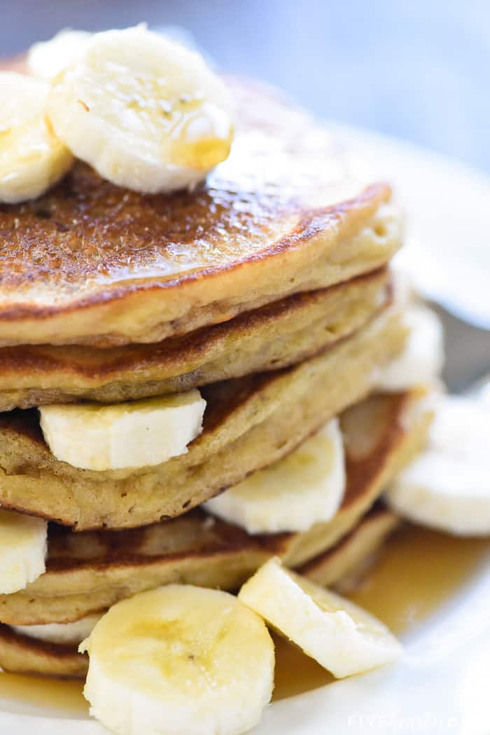 Zoomed in stack of Banana Pancakes