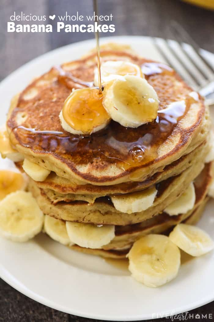 Healthy Whole Wheat Banana Pancakes with text overlay