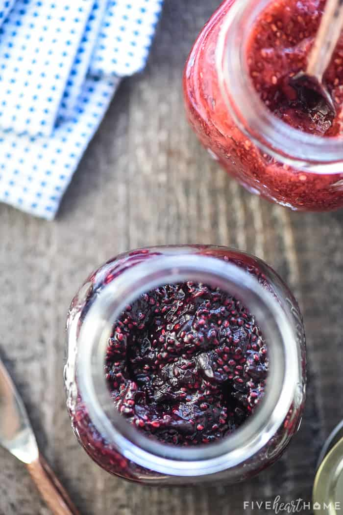 Chia Seed Jam made with different fruits