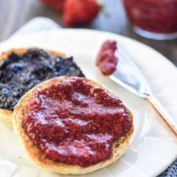 Chia Seed Jam ~ a quick, easy, delicious, and nutritious way to make jam -- without pectin or extra sugar -- using any fresh or frozen fruit you have on hand! | FiveHeartHome.com