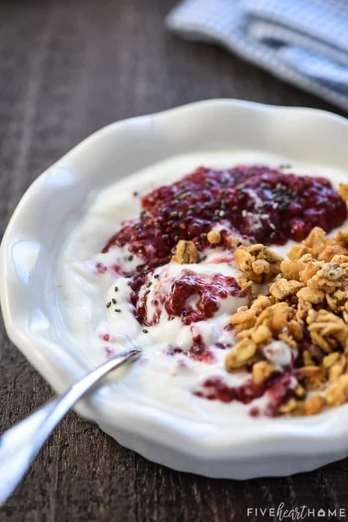 Chia Seed Jam in yogurt with granola