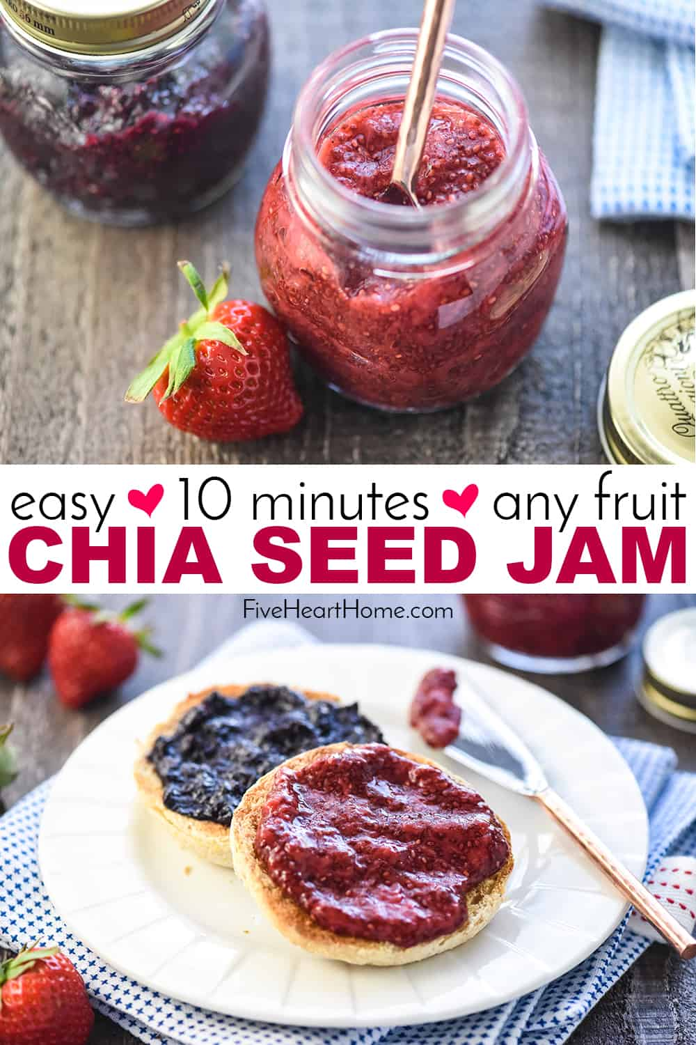 Chia Seed Jam in jars and on English muffin, collage with text