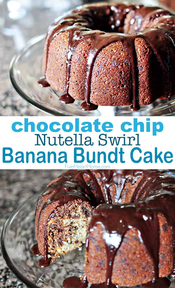 Banana Chocolate Chip Bundt Cake with Nutella Swirl & Glaze ~ a moist, decadent, scrumptious bundt cake that's guaranteed to be a hit! | FiveHeartHome.com