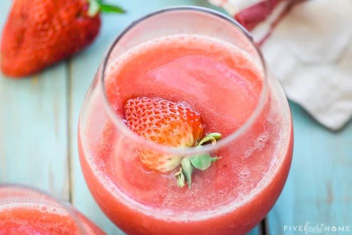 Frose (Frozen Strawberries + Rosé Wine) recipe in a glass