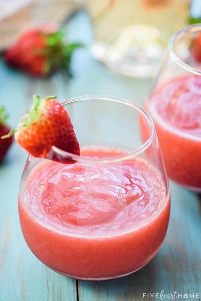 Frosé (Frozen Strawberries + Rosé Wine) ~ as quick and simple as blending rosé wine with frozen strawberries for a sweet, slushy, boozy, and refreshing frozen drink that's perfect for summer! | FiveHeartHome.com