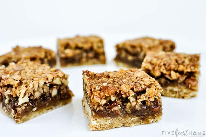 Pecan Pie Bars Recipe on a platter