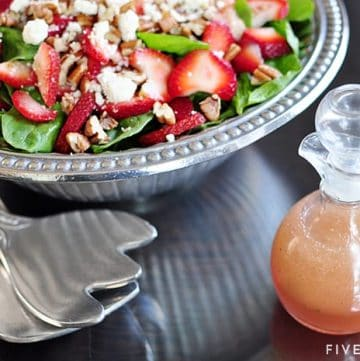 Strawberry Spinach Salad with Toasted Pecans, Feta, Cheese, & Homemade Blush Wine Vinaigrette ~ this fresh, colorful, delicious salad with is loaded with flavor and texture...perfect for any spring and summer meal! | FiveHeartHome.com