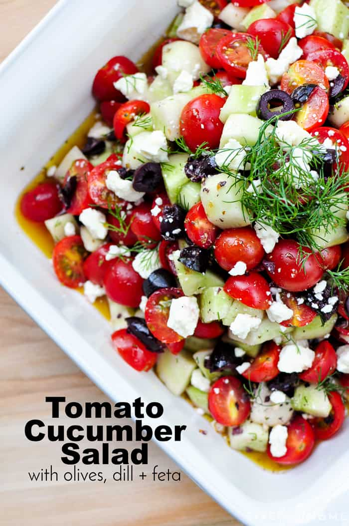 Cucumber Tomato Feta Salad with text overlay