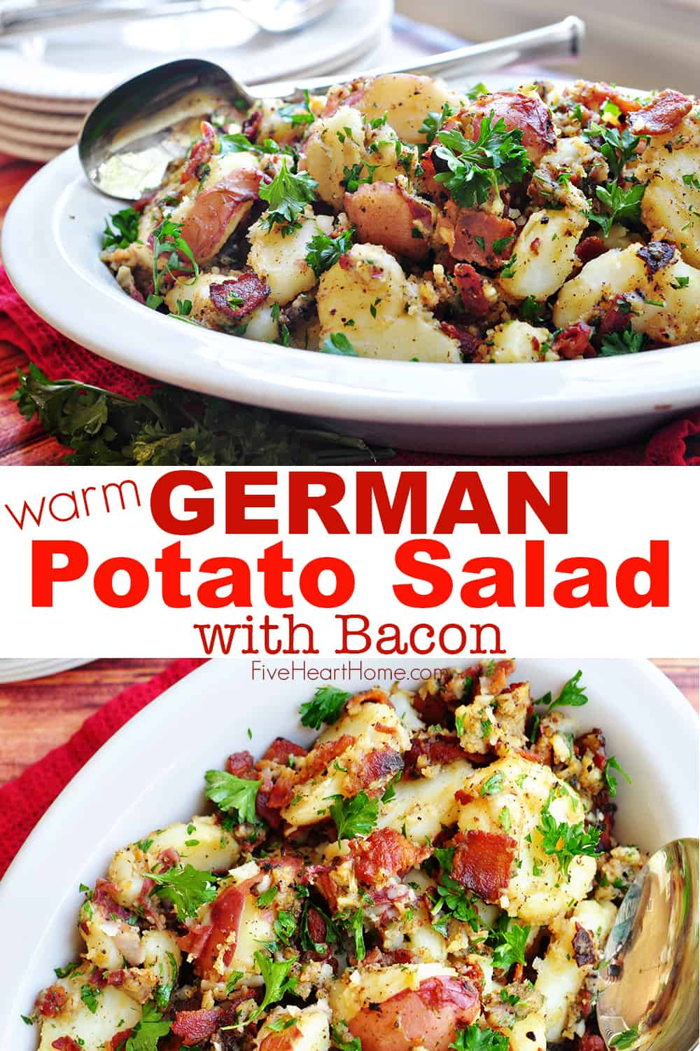 THE BEST German Potato Salad ~ a warm potato salad recipe featuring tender red potatoes and bacon in a tangy dressing for the ultimate summer side dish! | FiveHeartHome.com #germanpotatosalad