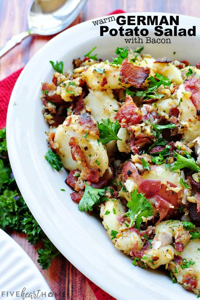 THE BEST Warm German Potato Salad with Bacon with text overlay