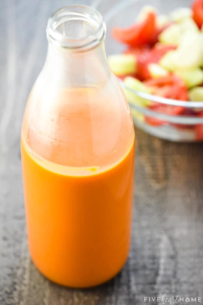 Easy Gazpacho Recipe in a glass bottle.