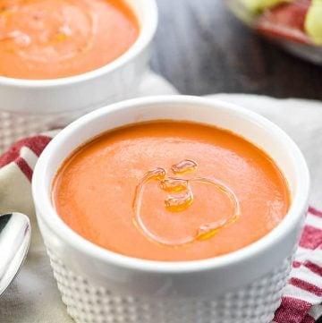Easy Gazpacho Recipe in two white bowls.