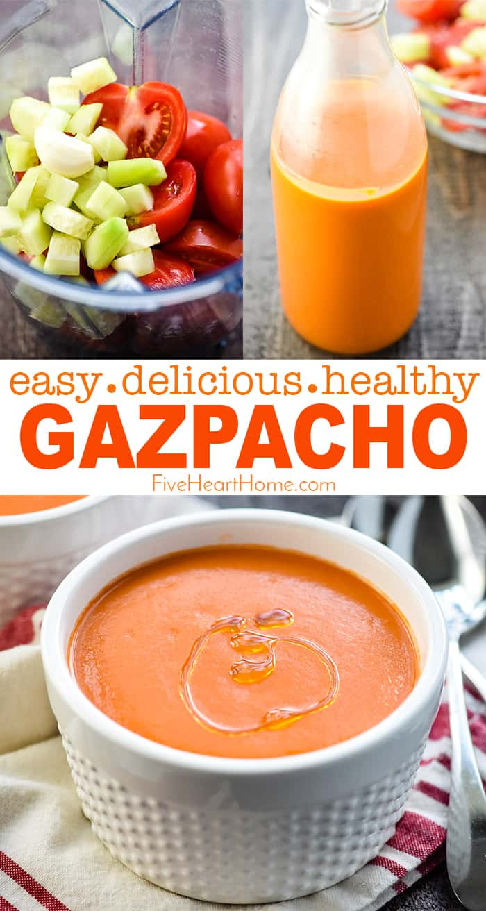 Easy Gazpacho ~ this delicious, refreshing, chilled Spanish soup recipe is quick to make with just a few ingredients, and it's gluten-free, too...you won't even miss the bread! | FiveHeartHome.com #gazpacho via @fivehearthome