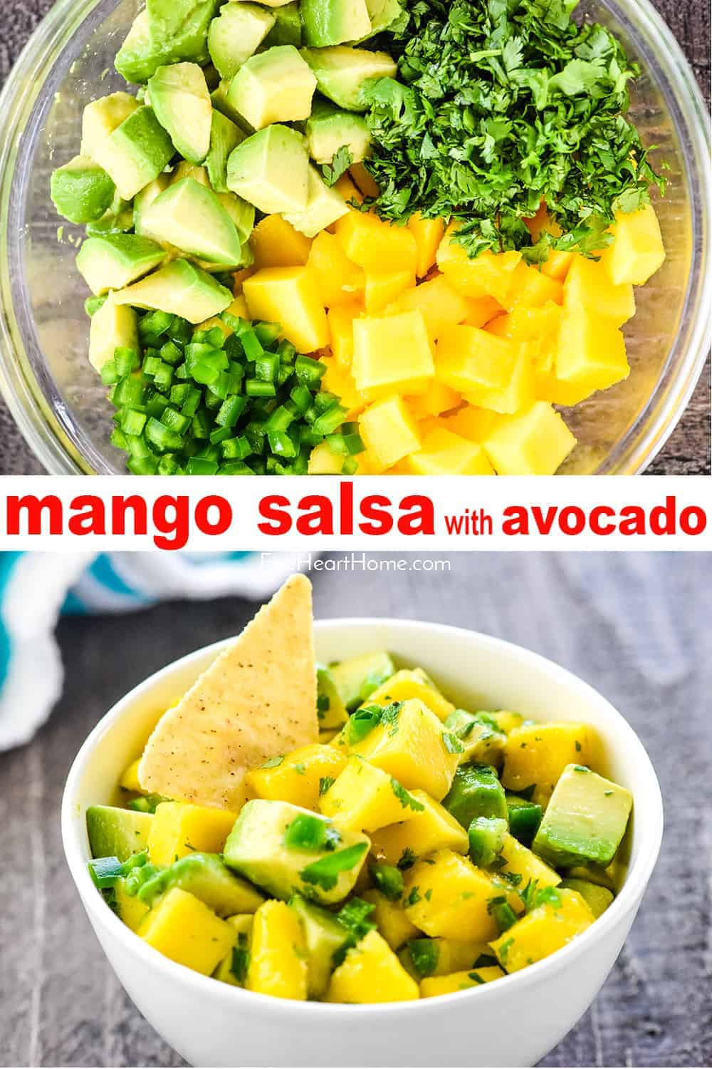 Mango Salsa ~ a fresh, simple recipe bursting with loads of summer flavor from sweet mango, creamy avocado, zesty jalapeño, and zippy cilantro...perfect as a dip or over fish! | FiveHeartHome.com