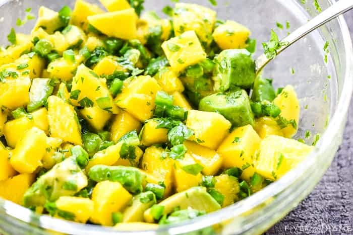 Mango Salsa recipe mixed together in a bowl