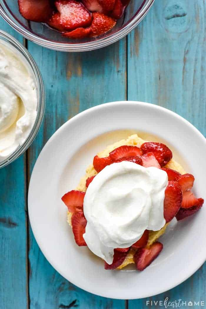 How to Make Strawberry Shortcake showing the steps to assemble