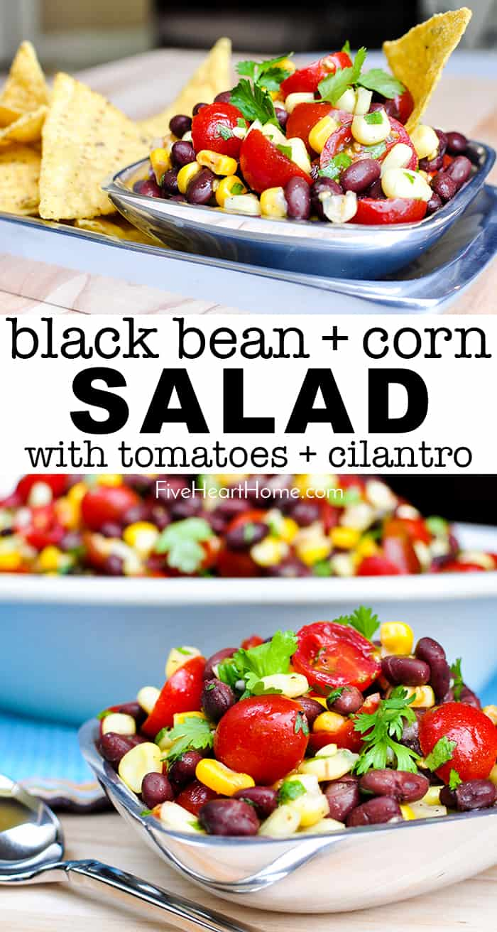 Black Bean and Corn Salad with Tomatoes + Cilantro ~ an easy, zesty, addictive recipe with a garlicky lime vinaigrette that's delicious as a side salad or dipped up with chips! | FiveHeartHome.com #blackbeancornsalad #summersalads #blackbeansalad #cornsalad #tomatosalad via @fivehearthome