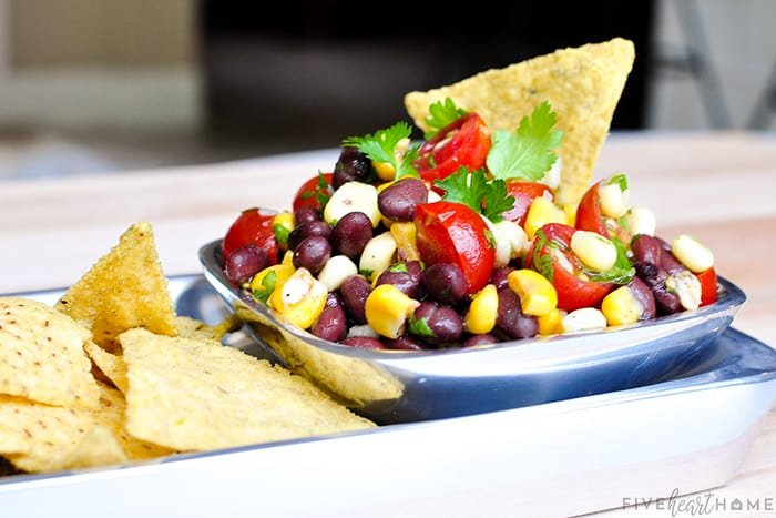 Black Bean and Corn Salsa served as a dip with chips