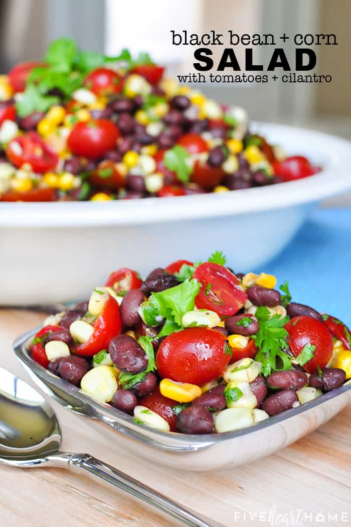 Black Bean and Corn Salad with Tomatoes + Cilantro with text overlay