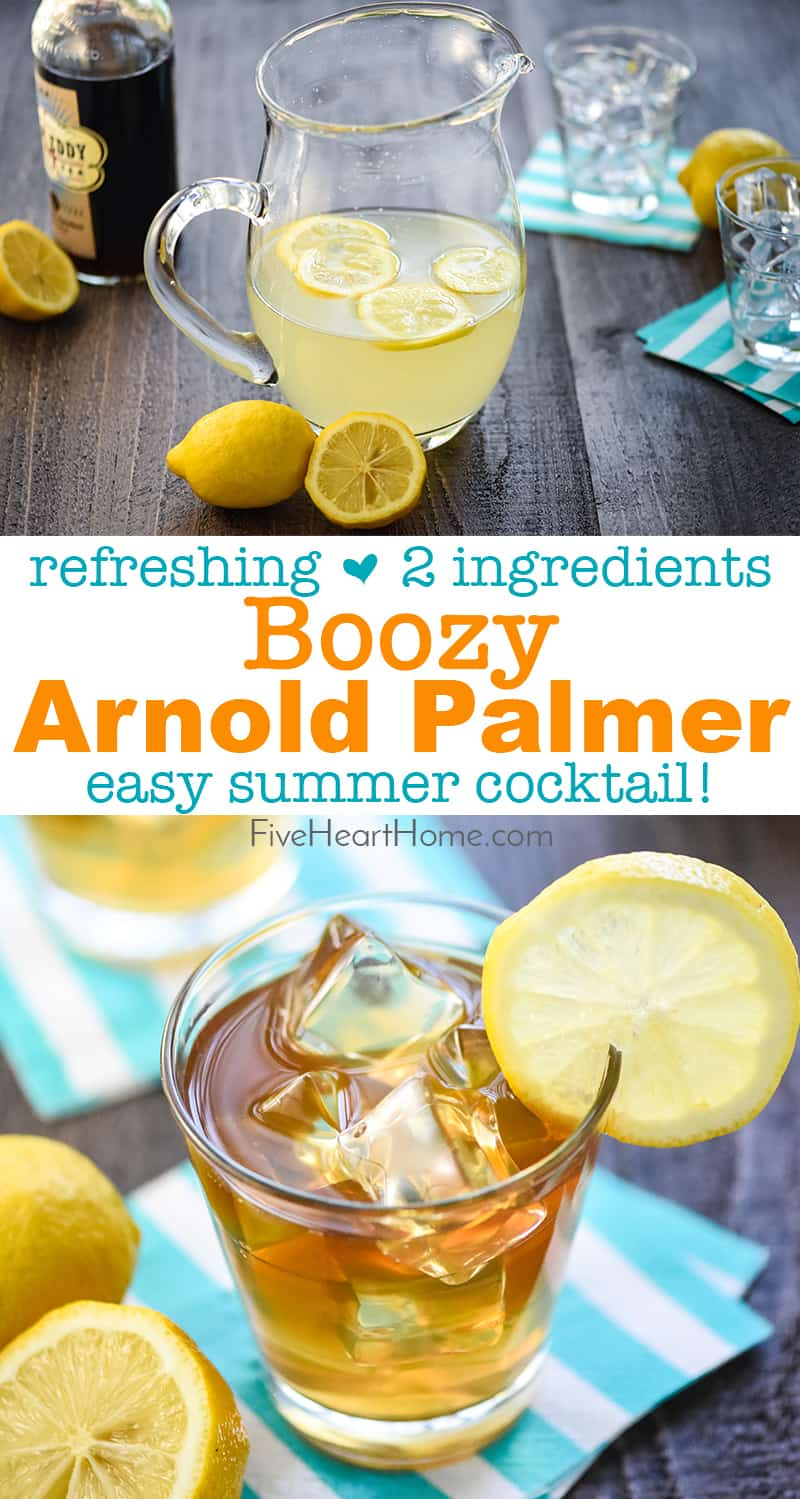 Boozy Arnold Palmer Drink ~ a spiked version of the classic, combining fresh lemonade and sweet tea vodka for a refreshing summer cocktail! | FiveHeartHome.com