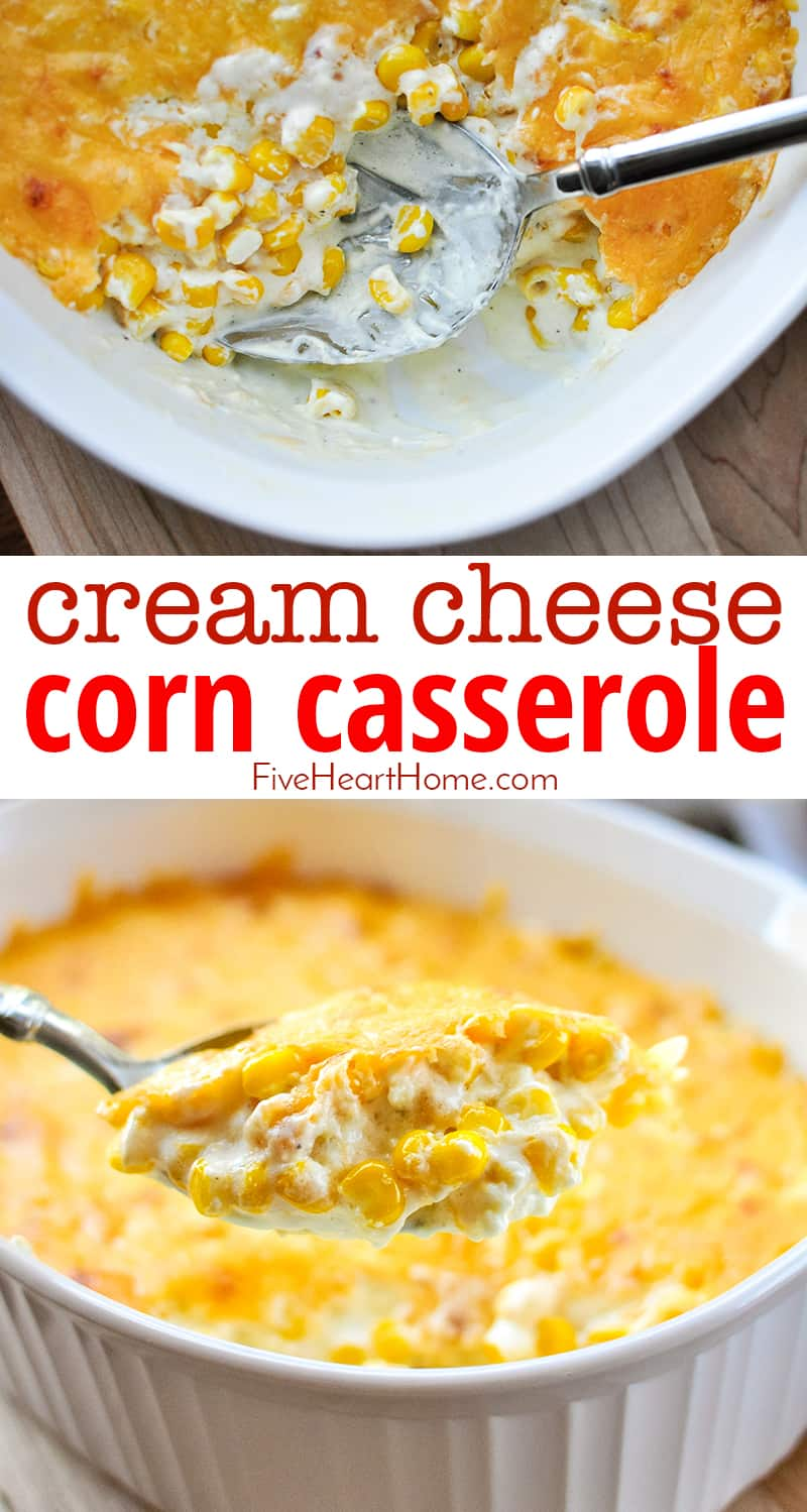 Cream Cheese Corn Casserole Recipe ~ a decadent, comforting side dish featuring sweet corn mixed with cream cheese, sharp cheddar, and (optional) diced jalapeños! | FiveHeartHome.com