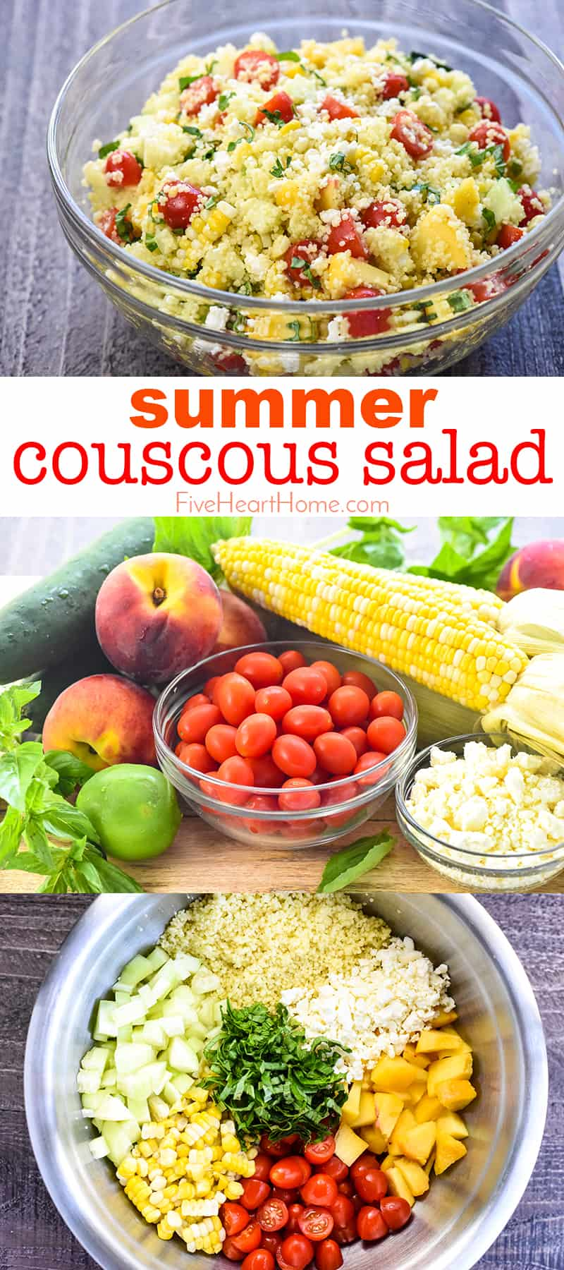 Summer Couscous Salad ~ a flavorful side dish featuring fluffy couscous studded with fresh corn, juicy tomatoes, crisp cucumbers, sweet peaches, chopped basil, and creamy feta in a honey lime dressing! | FiveHeartHome.com #couscous #couscoussalad #couscousrecipe #summersalad via @fivehearthome
