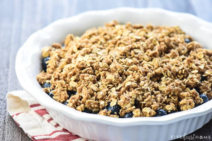 Unbaked oat crumble on top