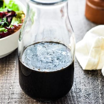 Balsamic Vinaigrette ~ this classic salad dressing recipe is silky smooth and zippy yet balanced, perfect for drizzling over salads, roasted veggies, or using as a marinade! | FiveHeartHome.com #balsamicvinaigrette