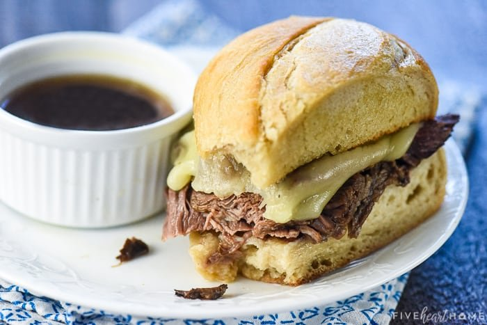 French Dip sandwich on a plate with au jus
