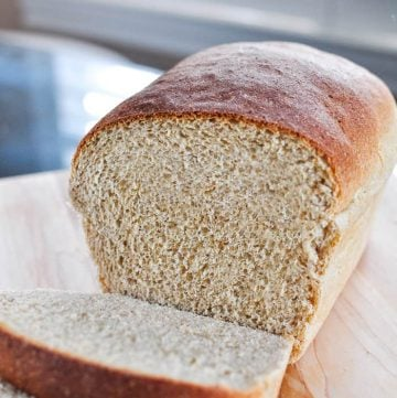 The Very BEST Whole Wheat Bread is the softest, moistest, fluffiest, freshest-staying, homemade, 100% whole wheat bread you've ever tried! | FiveHeartHome.com #wholewheatbread #homemadebread #wheatbread