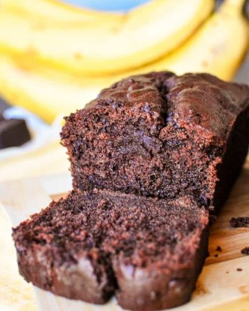 Triple Chocolate Banana Bread ~ moist, fudgy, and loaded with three kinds of chocolate, making this banana bread recipe a mouthwatering, delicious way to use up overripe bananas!   FiveHeartHome.com
