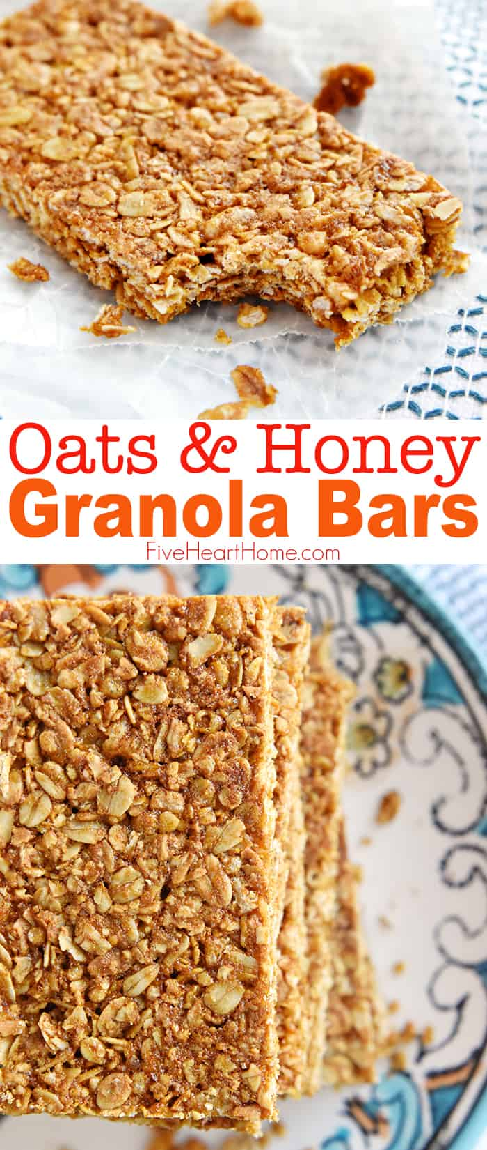 Oats and Honey Granola Bars ~ these homemade, all-natural granola bars are baked until slightly crunchy, making them perfect for breakfast-on-the-go or as a wholesome, portable snack! | FiveHeartHome.com #granolabars