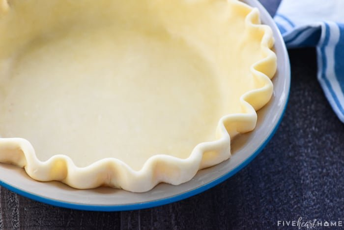 Homemade pie crust with crimped edges