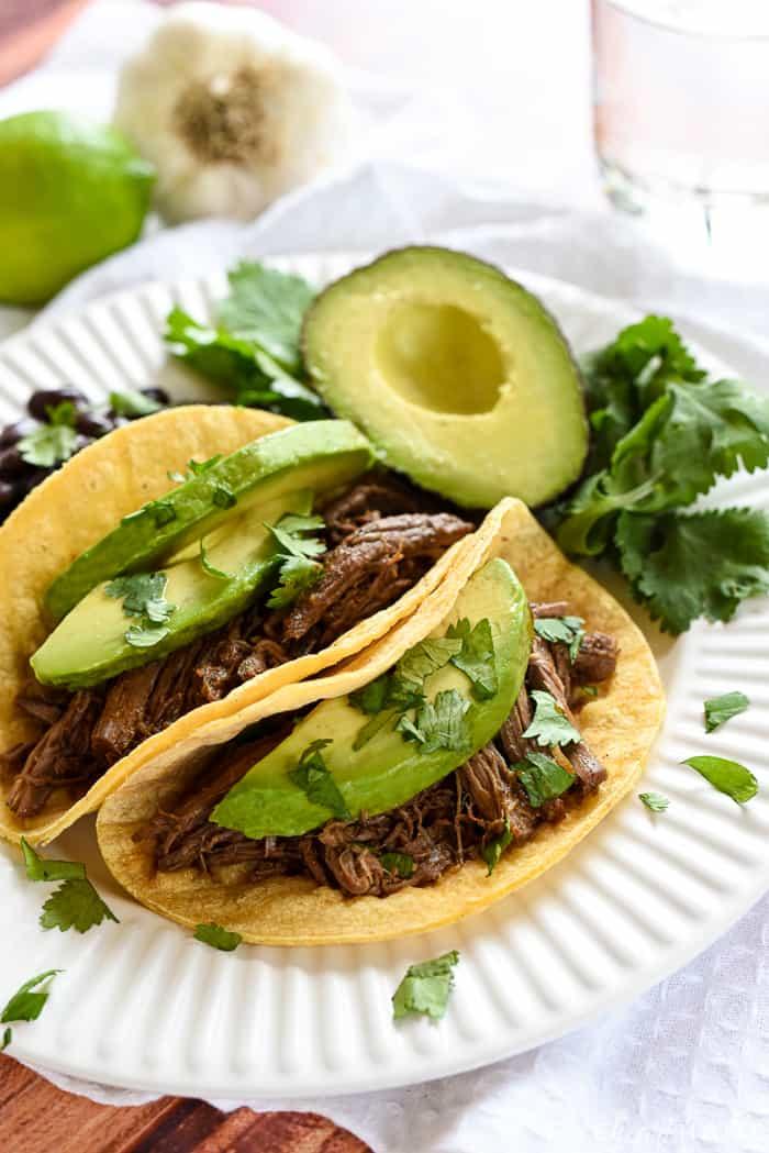 Plate of barbacoa tacos