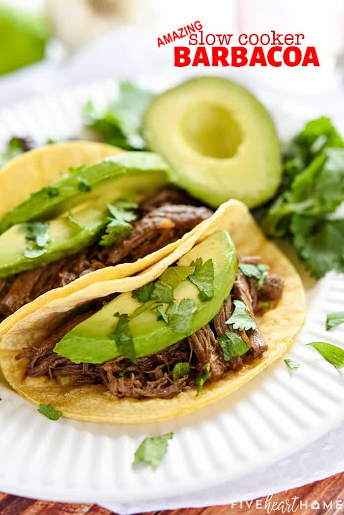 Slow Cooker Barbacoa with text overlay