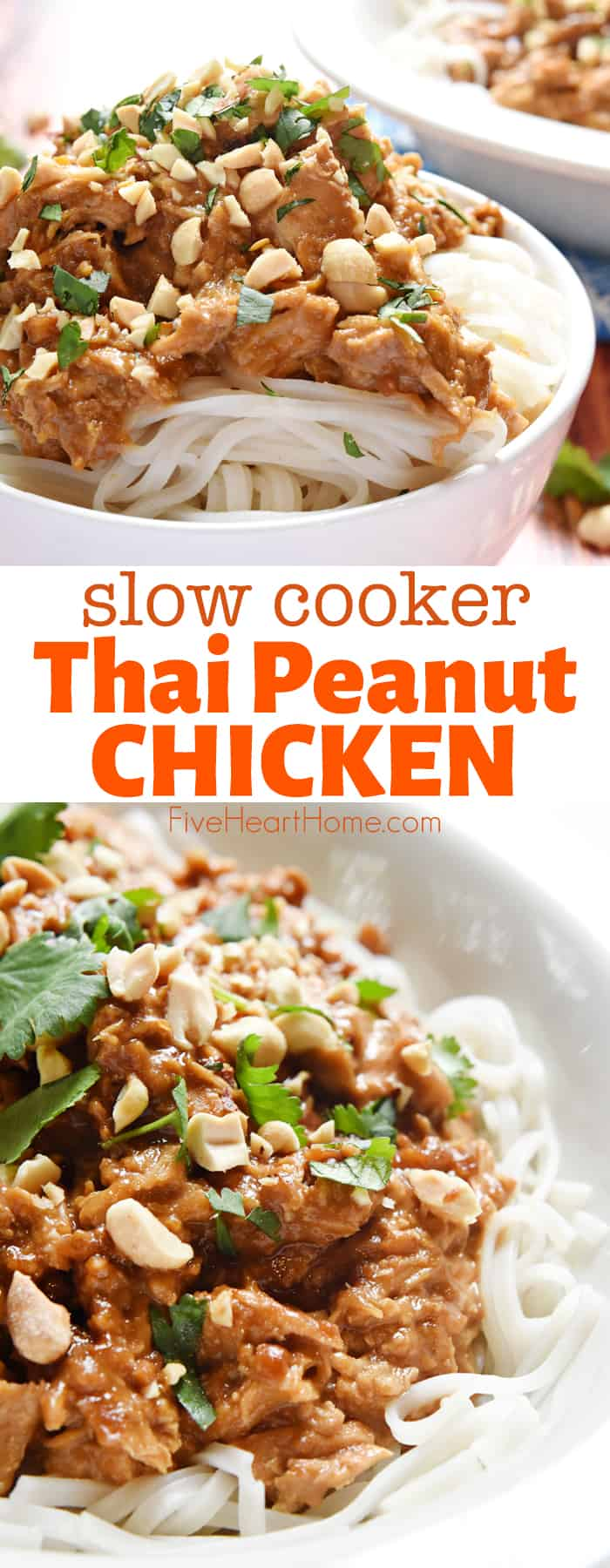 Slow Cooker Thai Peanut Chicken ~ made in the crockport, this easy dinner recipe features tender chicken stewed in a flavorful coconut milk and peanut sauce, served over rice or rice noodles! | FiveHeartHome.com #thaipeanutchicken #thaichicken #peanutchicken