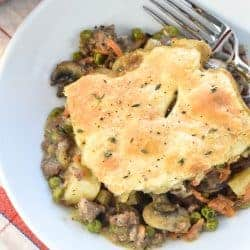 Beef Pot Pie ~ a hearty, delicious comfort food recipe featuring savory ground beef and veggies in a flavorful gravy topped by a flaky, buttery pie crust. And if you prefer, it's just as easy to make it with tender cubed beef! | FiveHeartHome.com #potpie #beefpotpie #potpierecipe