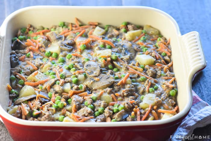 Ground Beef Pot Pie filling in baking dish