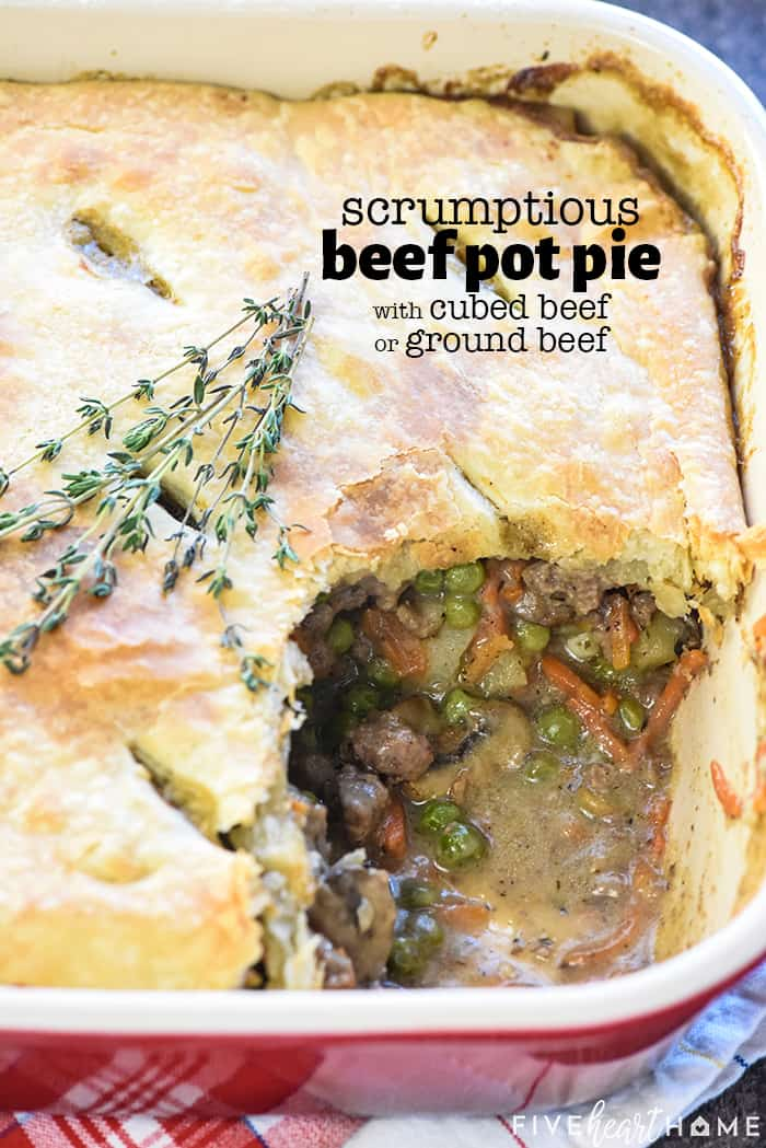 Beef Pot Pie with text overlay