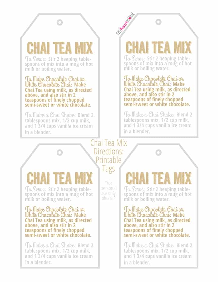 Chai Tea Mix Gift Tags with Directions