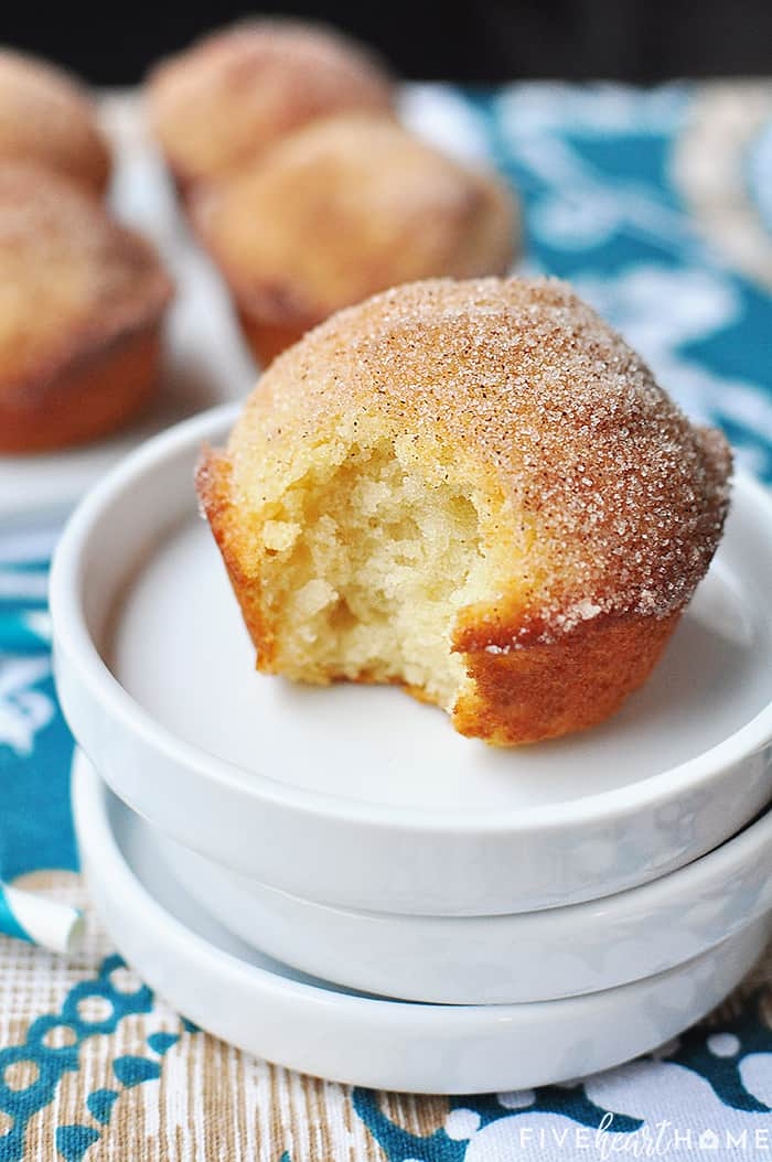 French Breakfast Puffs ~ tender vanilla muffins drenched in melted butter and dipped in cinnamon sugar for a sweet and crunchy coating that makes breakfast time a treat! | FiveHeartHome.com