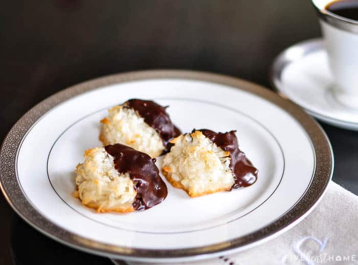 Chocolate Dipped Coconut Macaroons on a plate