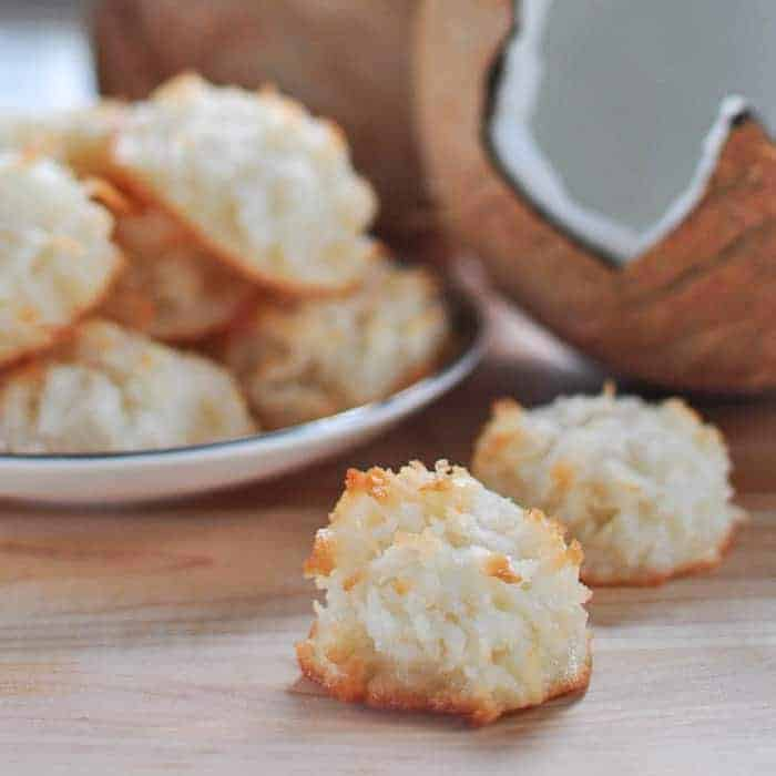 Coconut Macaroon scene with coconut in background