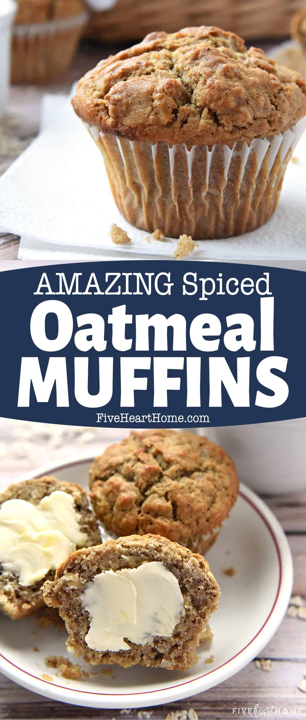 Spiced Oatmeal Muffins ~ perfectly spiced with crunchy tops and pillowy centers, making them a wholesome, delicious breakfast on-the-go or anytime snack! | FiveHeartHome.com via @fivehearthome
