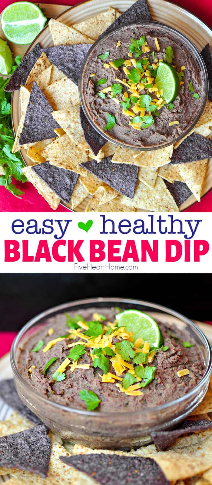 Black Bean Dip ~ flavored with fresh garlic, cilantro, jalapeño, lime juice, and cumin, this easy, healthy, zesty dip is equally delicious scooped up with tortilla chips or raw veggies! | FiveHeartHome.com via @fivehearthome