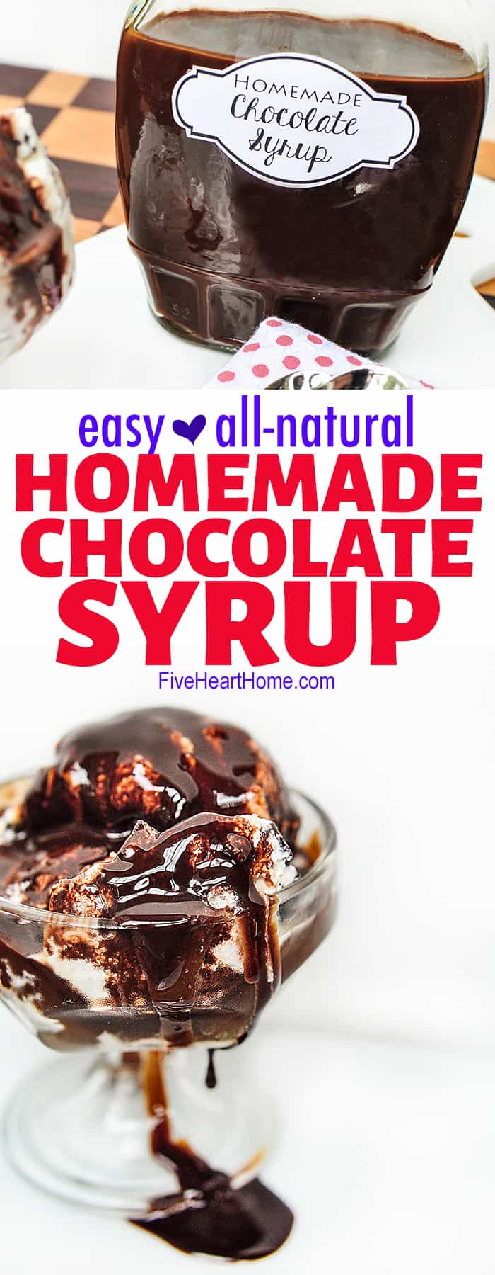 Easy Homemade Chocolate Syrup collage of photos with text