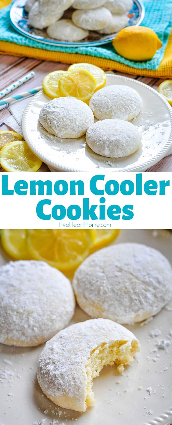 Lemon Cooler Cookies ~ soft, tender cookies bursting with fresh lemon and real butter, then coated in lemony powdered sugar! | FiveHeartHome.com