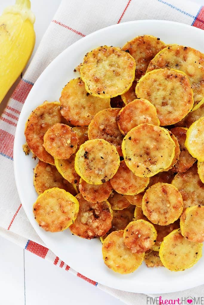 Baked Yellow Squash Rounds on a plate, aerial view