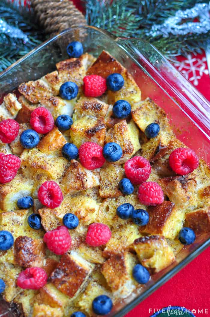 Aerial view of Eggnog French Toast.