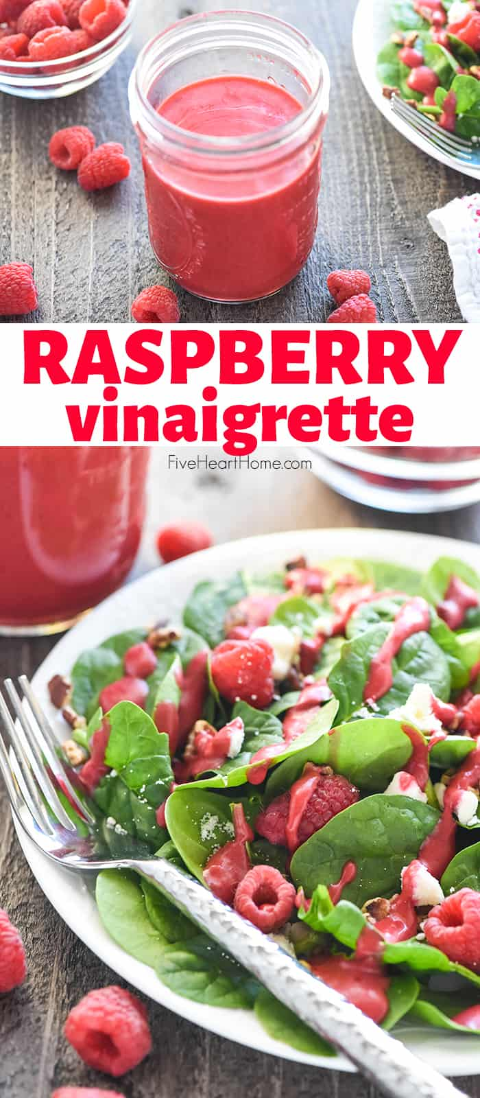 Raspberry Vinaigrette ~ a silky-smooth, sweet and tangy homemade dressing that's easy to make and delicious over a variety of salads! | FiveHeartHome.com via @fivehearthome